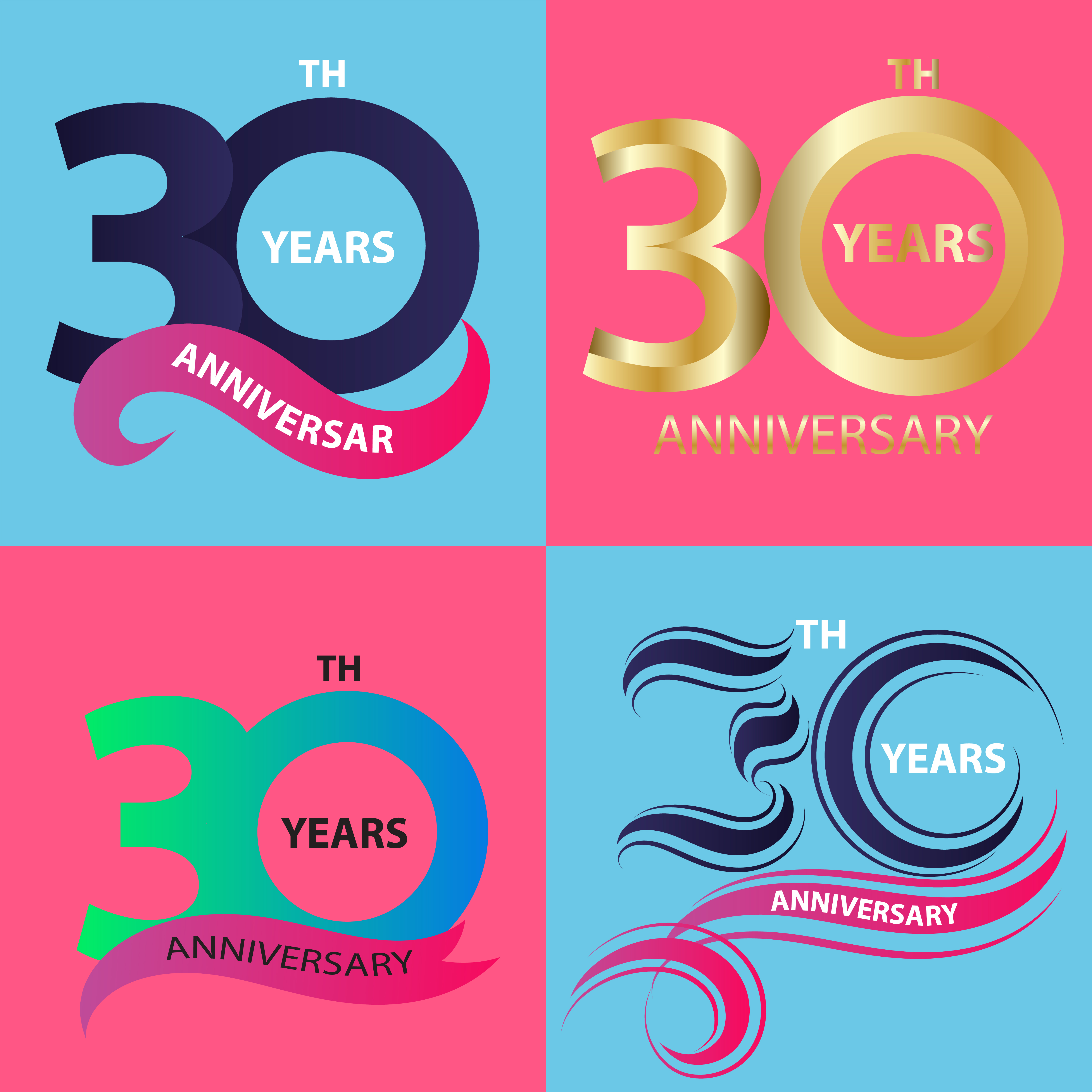 30 Year Anniversary Symbol: Set 30th Anniversary Sign And Logo Celebration Symbol