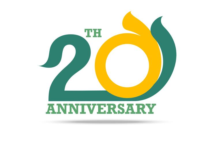 20 aniversario logo y signo sobre fondo blanco