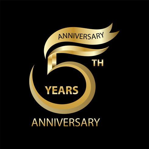 gyllene 5 års jubileumsskylt och logotyp för guldfesten symbol