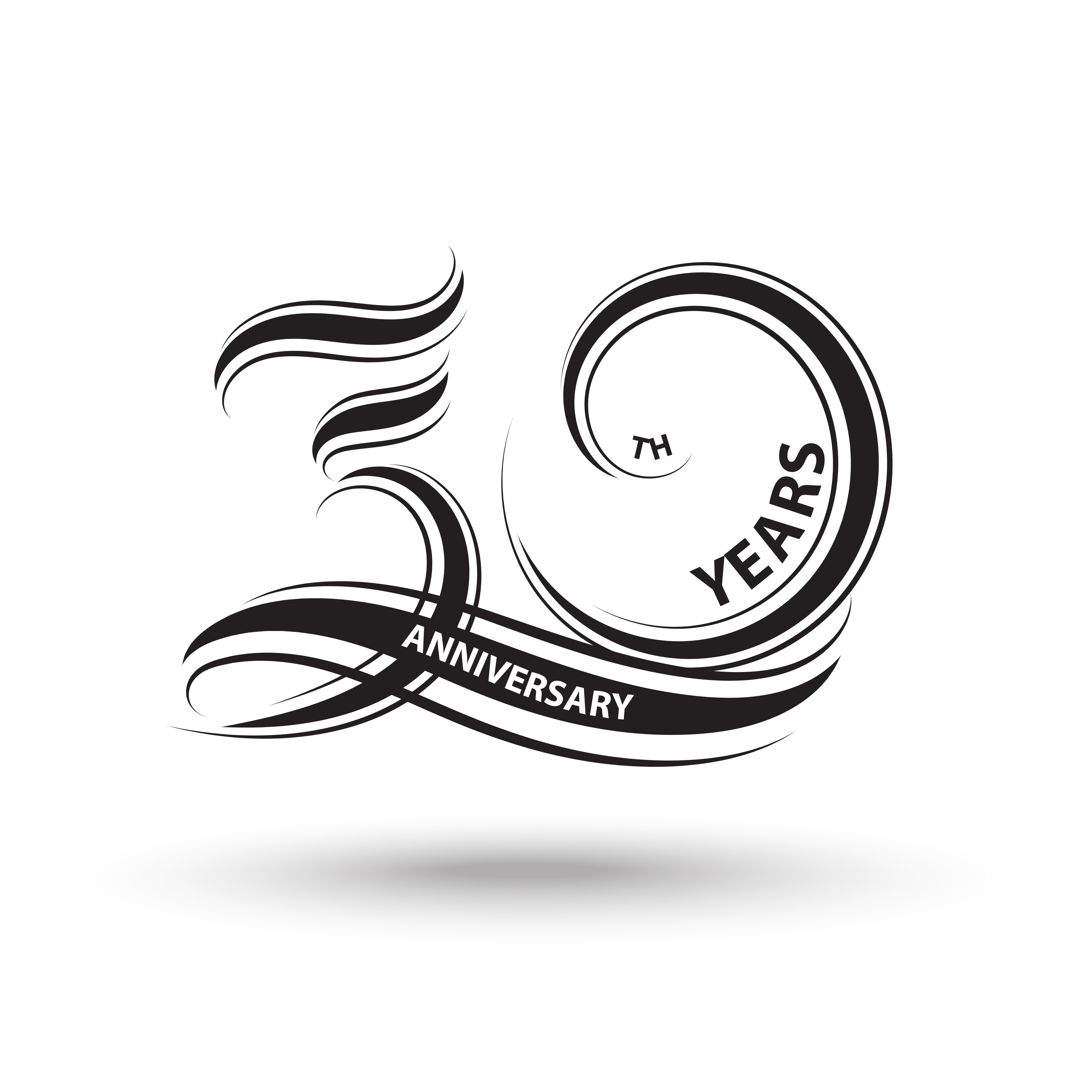 30 Year Anniversary Symbol: 30th Anniversary Sign And Logo For Celebration Symbol
