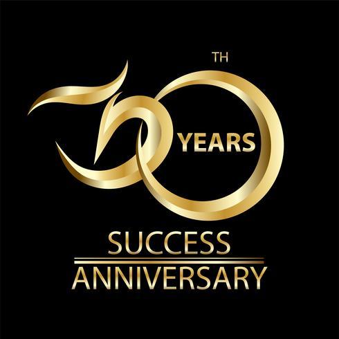 Signo de oro 30 aniversario y logotipo para el símbolo de celebración de oro vector