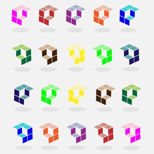 färgstarka uppsättning kubisk logotyp och pilvektor vektor