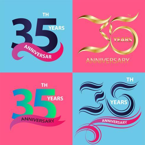Ange 35-årsjubileumsskylt och logotypsfesten symbol