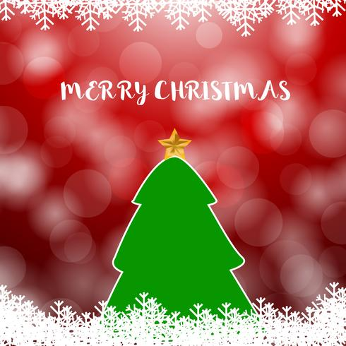 Weihnachtsbaum auf Rot mit weichem Unschärfeschneehintergrund vektor
