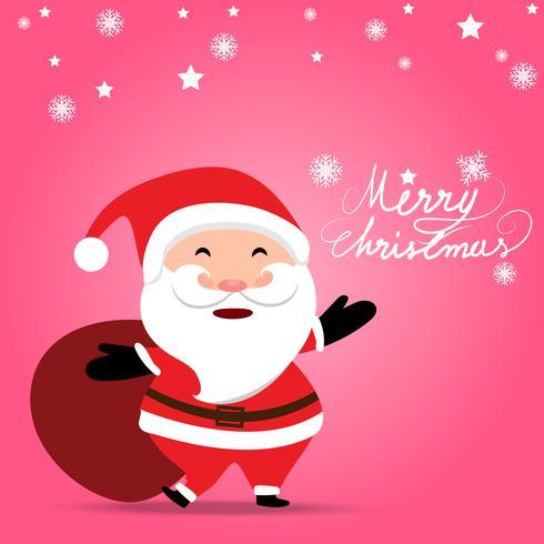 Jul bakgrund med Santa Claus håller presentväska på mjuk pastell rosa färg bakgrund vektor