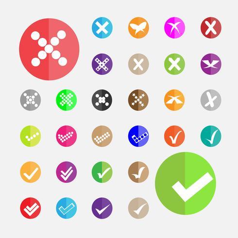 vit och olika kontroll och kors ikon vektor på färgstark cirkel bakgrund