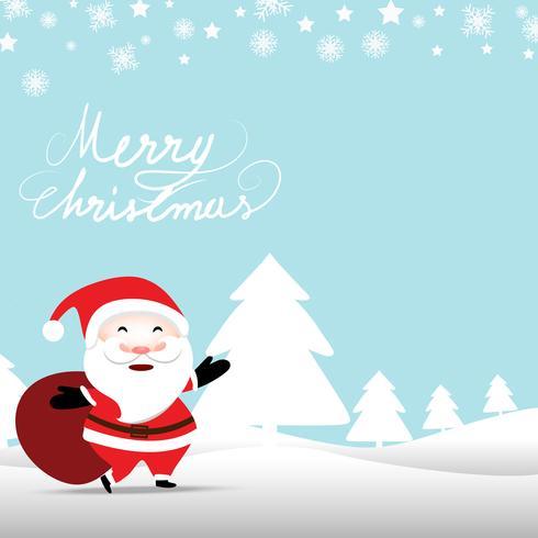 Fundo de Natal com Papai Noel segurando o saco de presentes no fundo de cor azul pastel suave vetor