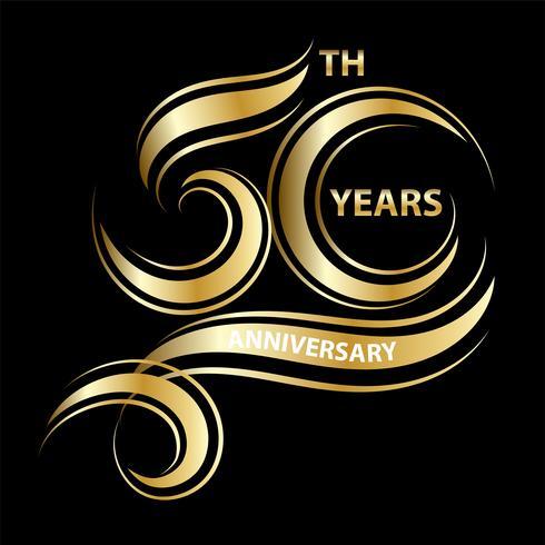 50 ° anniversario d'oro vettore