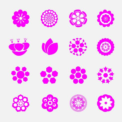 uppsättning rosa blommande blommig vektor