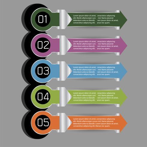 5 pasos de la etiqueta graphipc de información vectorial moderna para proyecto empresarial vector