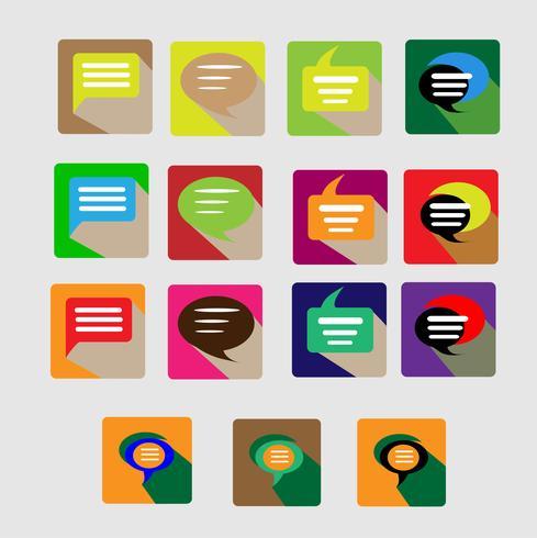 Los iconos modernos de conversación plana vector colección con efecto de sombra larga en colores elegantes de objetos de diseño web, negocios, oficina y artículos de marketing.