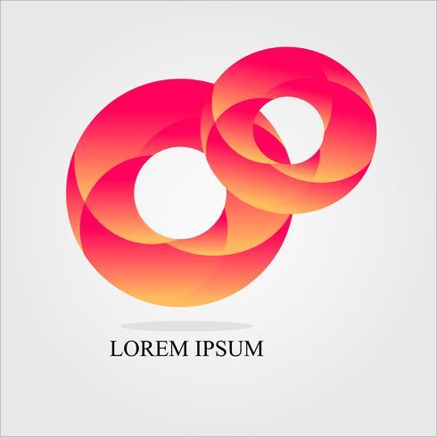 två röd cirkel logotyp design vektor: koncept i arbete och coorperating tillsammans vektor