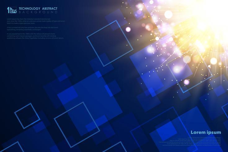 Technology square pattern of decoration futuristic gold light flare. illustration vector eps10