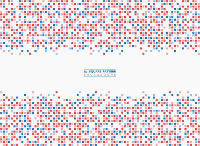 Abstract square pattern blue and red contrast pixel background. illustration vector eps10
