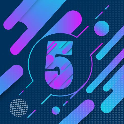 5: e års jubileumslogo och tecken med färgstark geometrisk designbakgrund