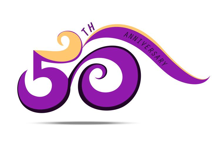 50 års jubileum och firande, violett nummerlogo och tecknad konst på vit bakgrund