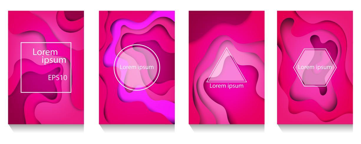 Tampas abstratas modernas da arte de papel A4 abstrato cor A4, onda colorida e formas fluidas fundo rosa