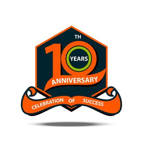 Celebración de letrero y logo del 10º aniversario vector