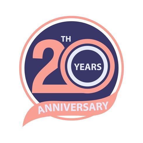 20 års jubileumsskylt och logo firande vektor