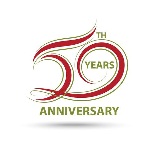 Red 50th anniversary sign and logo for celebration symbol vector