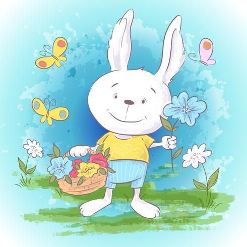 Postal de la ilustración pequeñas flores y mariposas lindas de las liebres. Estampado en ropa y habitación infantil.