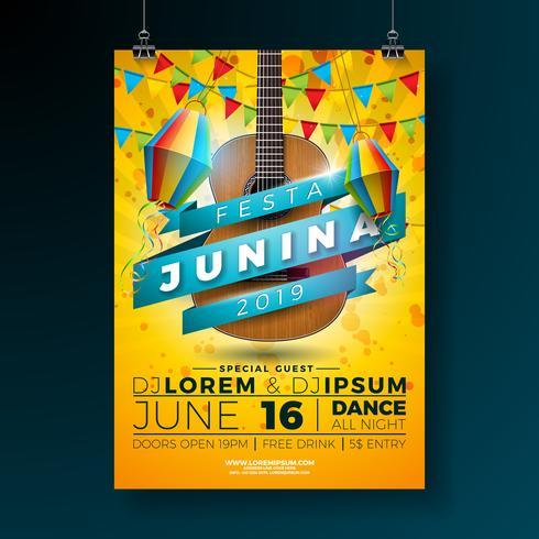 Festa Junina Party Flyer Illustration med typografi design och akustisk gitarr. Flaggor och papper lykta på gul bakgrund. Vector Brasilien juni festival design