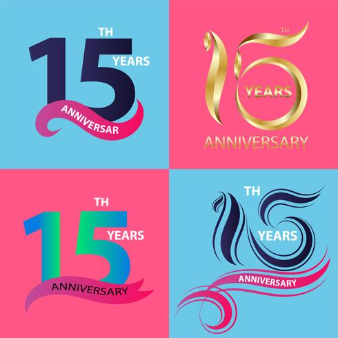 conjunto de sinal de aniversário 15 e símbolo de celebração do logotipo