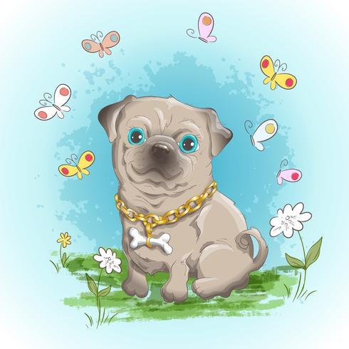 Illustratie briefkaart schattige kleine hond bulldog en vlinders. Afdrukken op kleding en kinderkamer