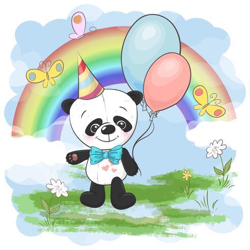 Piccolo panda sveglio della cartolina dell'illustrazione con i palloni su un fondo dell'arcobaleno e delle nuvole. Stampa su vestiti e stanza per bambini