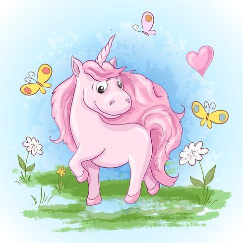 Illustration carte postale fleurs et licornes mignons de licorne. Impression sur les vêtements et la chambre des enfants