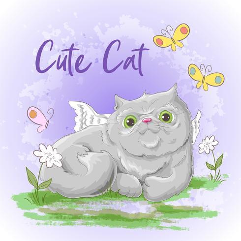 Gato bonito de cartão postal de ilustração. Imprimir na roupa e no quarto das crianças vetor