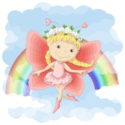 Postkartenillustration einer netten kleinen Fee auf dem Hintergrund des Regenbogens und der Wolken. Druck auf Kleidung und Kinderzimmer
