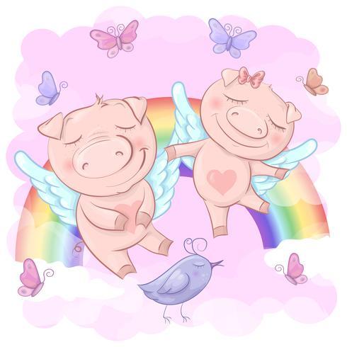 Ilustração de porcos bonitos dos desenhos animados em um fundo do arco-íris. Imprimir para roupas ou quarto infantil vetor