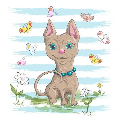 Illustration d'un mignon petit chat avec des fleurs et des papillons. Impression pour vêtements ou chambre d'enfants