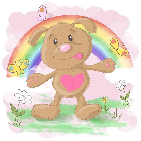 Illustrazione di un cane simpatico cartone animato su uno sfondo arcobaleno. Stampa per vestiti o per bambini vettore