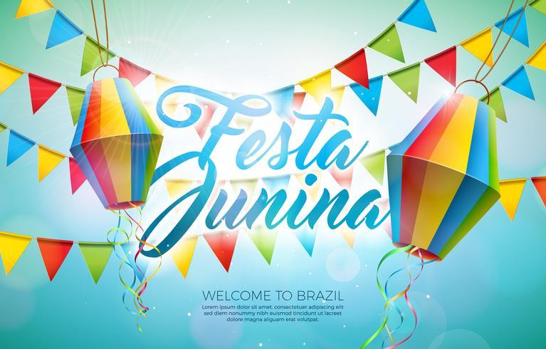 Ejemplo de Festa Junina con las banderas del partido y la linterna de papel en fondo azul. Vector Brasil Junio Festival Diseño