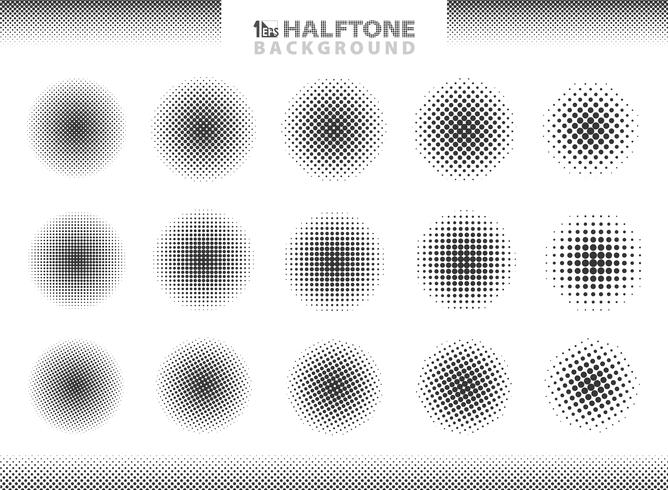Modern halftone set of circles decoration. vector eps10