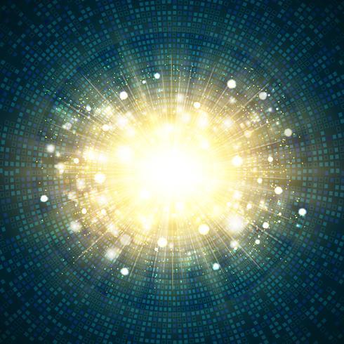 Quadratischer Kreis der blauen Technologie Digital des Goldfunkelnexplosions-Mittelhintergrundes. Abbildung Vektor eps10