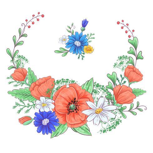 Set van rode papavers en madeliefjes. Handtekening. Vector illustratie