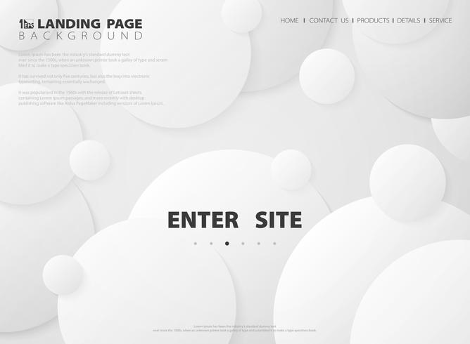 Abstract modern landing page of circle gradient white background. illustration vector eps10