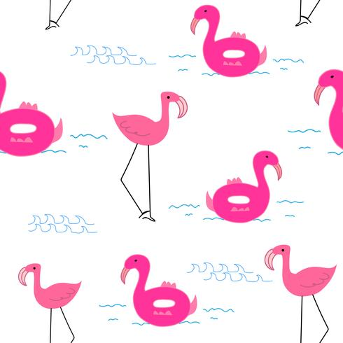 Flamingo de fond, modèle de flamant tropical, illustration vectorielle. vecteur