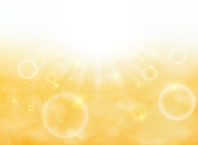 L'estate del sole scoppia su una luce soffusa con lo sfondo del cielo in oro giallo. illustrazione vettoriale eps10