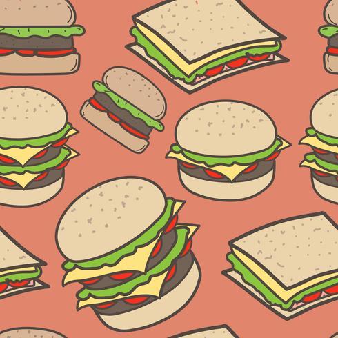 Fundo tirado mão do fast food e dos hamburgueres do teste padrão. Ilustração vetorial. vetor