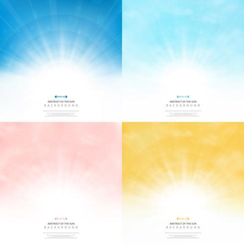 Ajuste o fundo do sol com o céu do teste padrão do estilo das cores. ilustração vetorial eps10