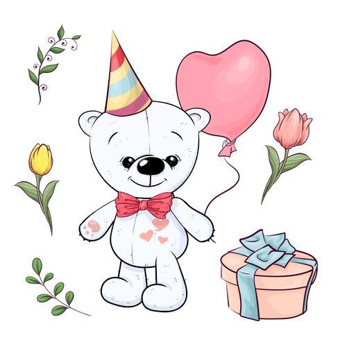 Conjunto de pequeño oso de peluche blanco y flores. Dibujo a mano. Ilustración vectorial vector