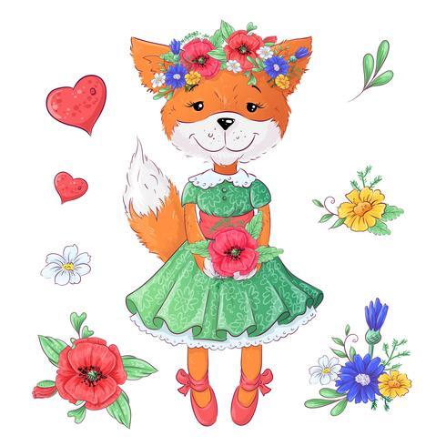 Set van vos bloemen. Hand tekening vectorillustratie
