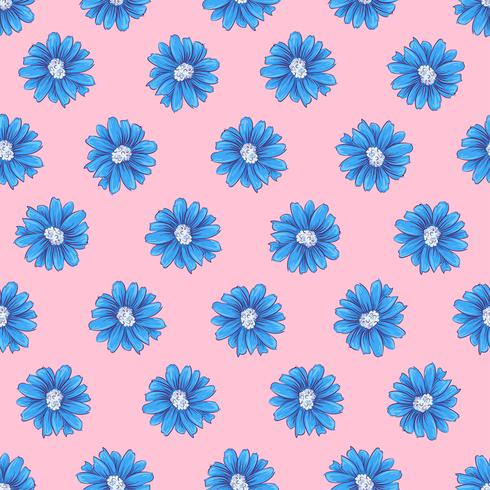 Wild flowers seamless pattern. Hand drawing Vector illustration
