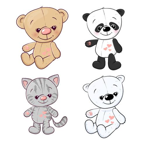 Establecer panda cachorro gatito oso de peluche liebre. Dibujo a mano. Ilustración vectorial