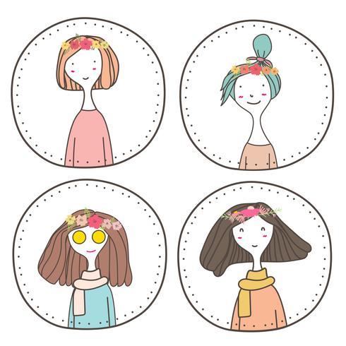 Insieme di carattere carino ragazze design, timbro ragazza carina, illustrazione vettoriale.