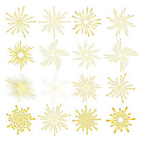 El sistema de estilo de oro del resplandor solar aislado en el fondo blanco, estallando irradia el ejemplo del vector. vector